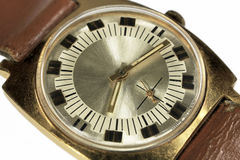 Old soviet analog watch close up. Isolated on white background Stock Photo