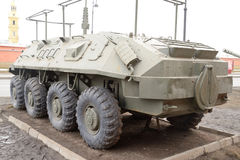 Old soviet armored troop-carrier. Stock Photo