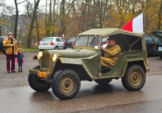 Old Soviet Army GAZ 67 car on a parade Royalty Free Stock Photos