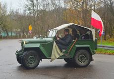 Old Soviet Army GAZ 67 car on a parade Royalty Free Stock Photos