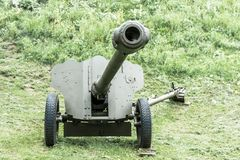 Old Soviet artillery antitank gun from World War II age. stock images