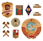 Old soviet badges Stock Photo