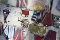 Old soviet badges, orders and medals