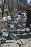 Old Soviet bicycles exhibition Stock Photography