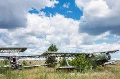 Old soviet biplane Antonov An-2 Colt aircrafts Royalty Free Stock Photography