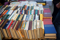 Old soviet books on second hand bookstalls Stock Image