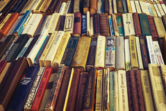 Old soviet books on second hand bookstalls Royalty Free Stock Photos