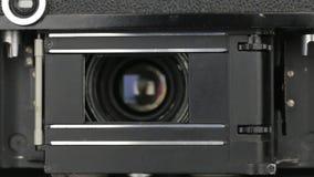 Old Soviet camera mechanism work , shutter speed stock video