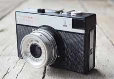 Old Soviet camera Smena. Pearl in photography!. Manufacturer of `SMENA` is `LOMO` - Leningradskoe opto-mechanical association. The year of production is 1984 stock image