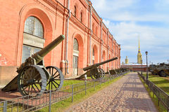 Old soviet cannon in Museum Artillery. Stock Photo