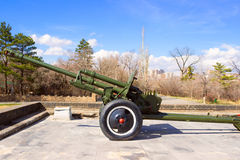 Old soviet cannon. Soviet Union old cannon from World War II in Victory Park, Yerevan Royalty Free Stock Photos