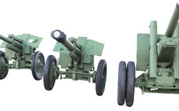 Old Soviet cannons. On white background Stock Photo