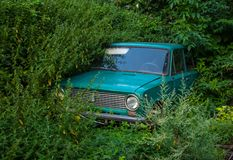 Old Soviet car, abandoned in the weeds royalty free stock photo