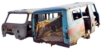 The old Soviet car broken. Old Soviet broken and rusty ambulance on a transparent background Royalty Free Stock Image