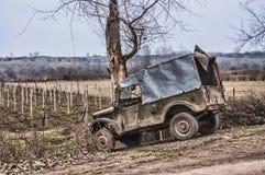 Old Soviet car gaz 69 at the roadside in Gazakh. Azerbaijan Stock Photography