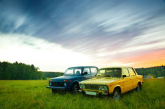 Old Soviet Cars. Lada 1600 and Lada Niva Royalty Free Stock Photo