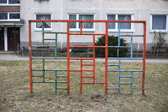 Old soviet children playground in residential yard Vilnius Lithu Royalty Free Stock Image