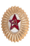Old Soviet cockarde, soviet insignia. Old Soviet cockarde, soviet insignia on a white background Stock Image
