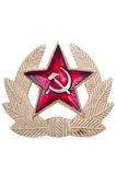 Old Soviet cockarde, soviet insignia. Old Soviet cockarde, soviet insignia on a white background Stock Photo