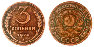 Old Soviet coin, 1924 year Royalty Free Stock Photo