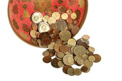 Old soviet coins in bronze vase Stock Images