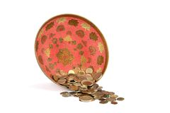 Old soviet coins in bronze vase Royalty Free Stock Image