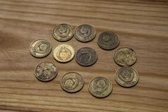 Old soviet coins on a wooden background Stock Image