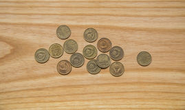 Old soviet coins on a wooden background Stock Photo