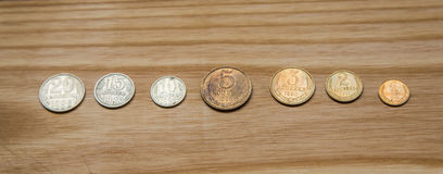 Old soviet coins on a wooden background Royalty Free Stock Image