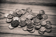Old soviet coins on a wooden background - monochrome vintage loo Royalty Free Stock Photography