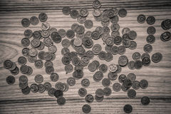 Old soviet coins on a wooden background - monochrome vintage loo Stock Photos