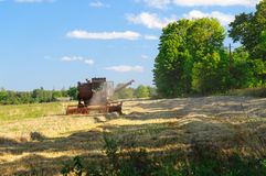 Old soviet combine harvester working in a field Royalty Free Stock Image