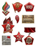 Old Soviet communist icon set. Artek. VLKSM - Lenin youth organization. USSR. XXV Congress CPSU. Always ready. CC VLKSM. For stock images