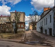 The old Soviet courtyard. Vyborg. Russia. royalty free stock photography