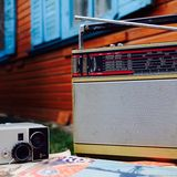 Old soviet electronics. Old soviet radio and camera Stock Images