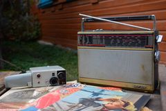Old soviet electronics. Vintage radio & videocam Stock Photos