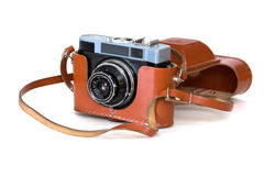 Old Soviet film camera. In leather case Stock Photo