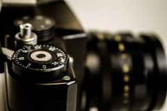Old Soviet film camera. In white background Royalty Free Stock Photos