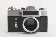 Old Soviet film camera on white background close-up Royalty Free Stock Photo