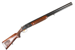 Old Soviet 12-gauge over and under double-barreled hunting gun Royalty Free Stock Image