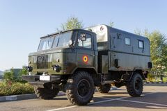 Old soviet GAZ-66 military truck. The GAZ-66 is a Soviet and later Russian 4x4 all-road off-road military truck produced by GAZ. It was one of the main cargo Stock Images