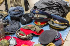 Old Soviet hats of employees Stock Photography