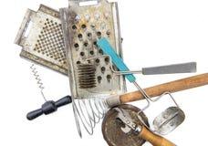 Old soviet kitchen tools set on white backgroud Stock Photos