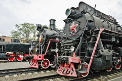 Old soviet locomotives Stock Photo