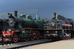 Old Soviet locomotives in the Museum of the history of railway transport at the Riga station in Moscow. MOSCOW, RUSSIA - APRIL 20, 2016: Old Soviet locomotives royalty free stock photography