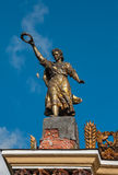 The old Soviet mosaic sculpture of a woman with a wreath Stock Images