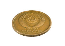 Old Soviet one copeck coin isolated on white background Royalty Free Stock Images