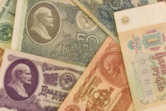 Old soviet paper money with Lenin portraits. One rouble, five roubles, ten roubles, twenty five rubles, fithty roubles Stock Photography