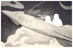 Old Soviet photo. Pattern rocket into space. The inscription Happy New Year 1962 Stock Image