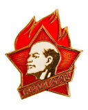 Old Soviet pioneer badge on white background Royalty Free Stock Images